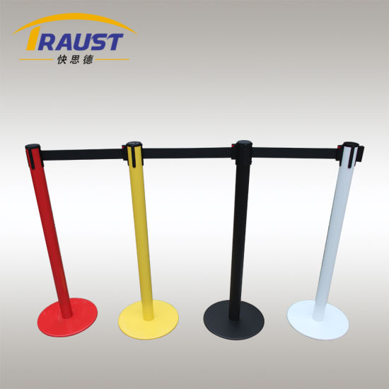 Bank Metal Material Queue Crowd Control Stanchion Retractable Belt Barrier