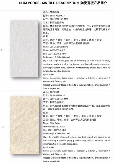 5.5mm Thickness Super Thin Slim Porcelain Tiles for Indoor Outdoor Wall Tiles Project (900*1800) pictures & photos