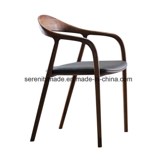 Modern Vintage Style PU Seat Restaurant Wooden Dining Chairs