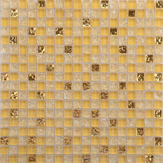 China 305*305mm with Ice Crackle Square Mosaic Tiles Light Yellow ...