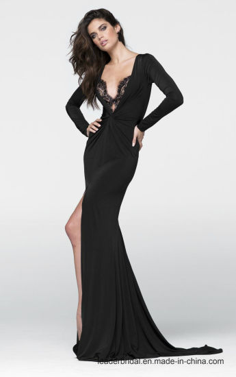 Spandex Lace Party Prom Gowns Black Split Evening Dress P97056 pictures & photos