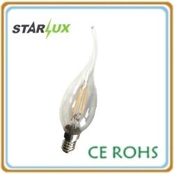 LED Light Filament Bulb 2W C35 Candle Tailed Lamp E14 3000K/4100K/6500K