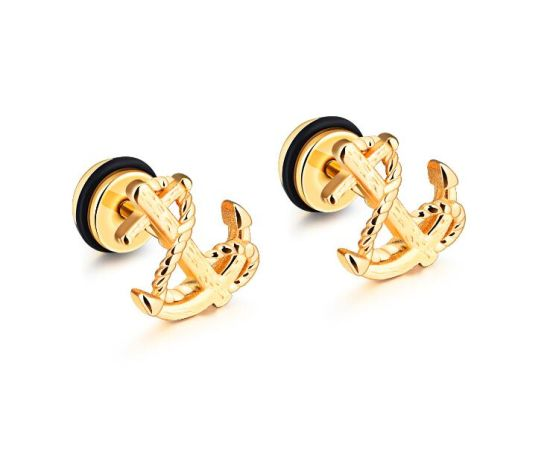 Hot Cool Black Silver Gold Anchor Stud Earrings For Men Stainless Steel Jewelry Whole