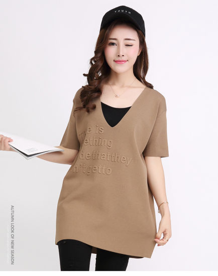 V Neck Ice Silk Korean Scale-Style Knitted V-Neck Pullover Raglan Sweater pictures & photos
