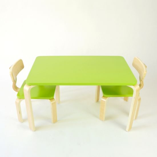 Children Study Birch Painted Plywood Natural Bentwood Table Chair