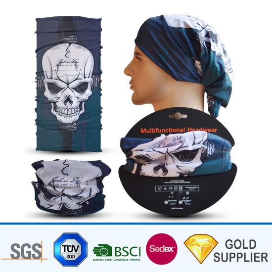 Wholesale Custom Digital Printed Outdoor Sports Soft Material Polyester Multifunctional Tube Seamless Face Mask Bandana Summer Floral Skull Magic Scarf