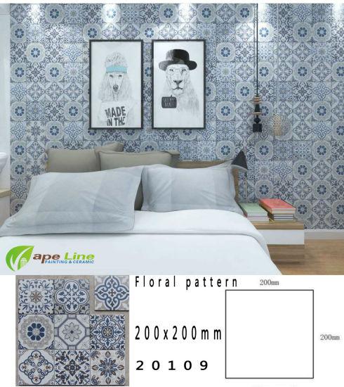 2019 Foshan Ceramic Bedroom White Blue Inkjet Six Corner Wall Tiles (200 mm  X 200 mm)