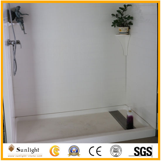 Hotel Used White Cultured Marble Shower Wall Panel Shower Tub Surround