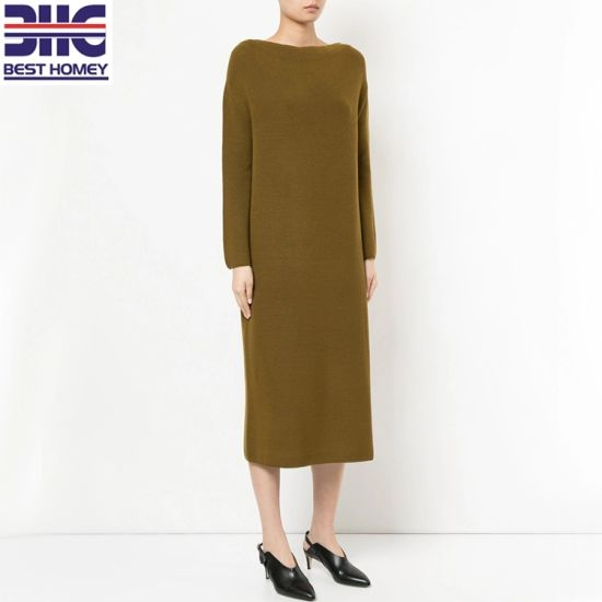 88a429b86c0 Women′s 100% Wool Knitted off Shoulder Design Fashion MIDI Sweater Dress  for Ladies