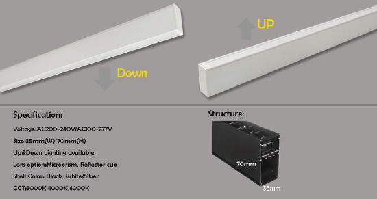 2018 New Product! 3570series up and Down LED Linear Light with Refector Cup or Microprism Lens pictures & photos