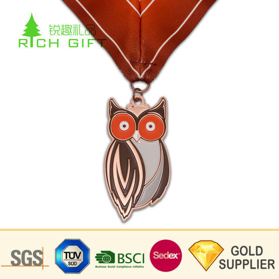 Free Sample Custom Metal Zinc Alloy Die Cut Copper Plated Soft Enamel Owl Medal for Children