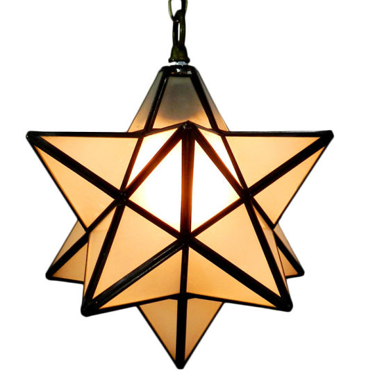 Moravian Star Pendant Light Frosted Glass Fixture
