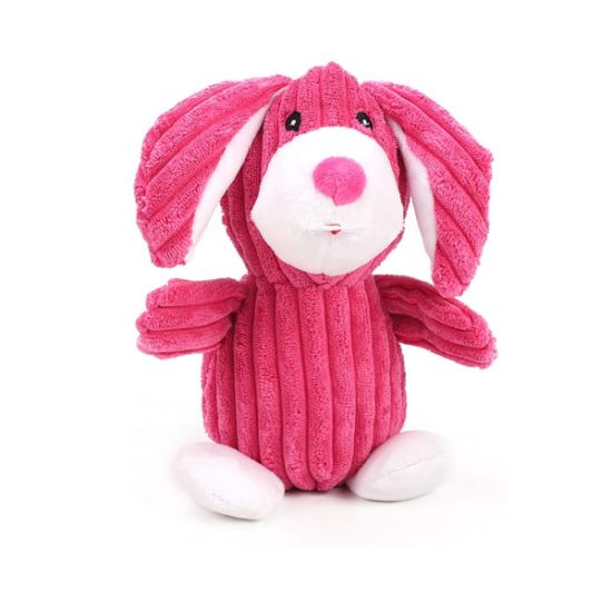Corduroy Pink Pink Stuffed Squaker Custom Plush Pet Toy