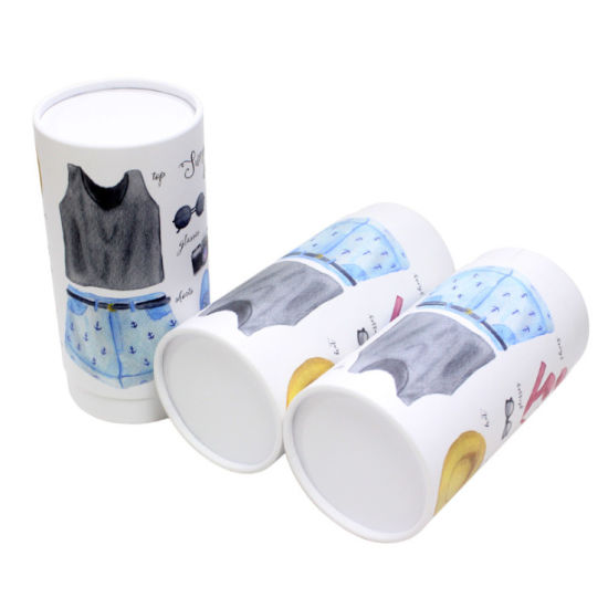 Firstsail Recycled Tube Packaging Clothing Cylinder Paper Box for Scarf Sleepwear T-Shirt Sportwear Socks Fabric