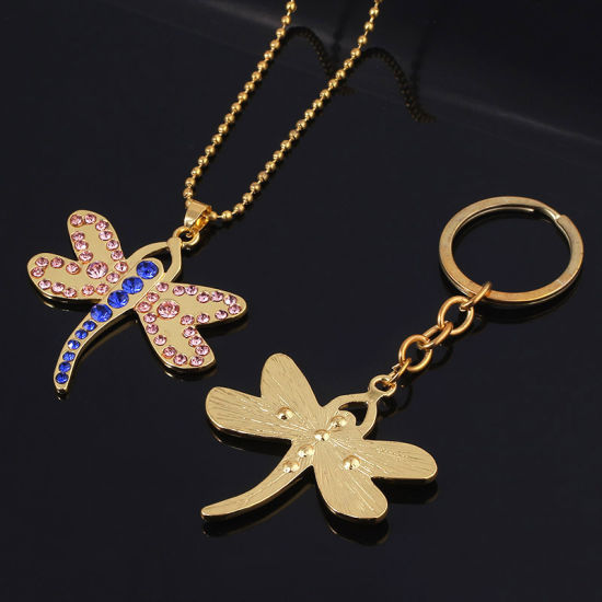 Custom Dragonfly with Glass Stone Keychain