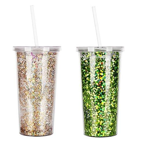 Custom This Double Wall Glitter Tumbler with Straw Drink Cup with Lid and Straw