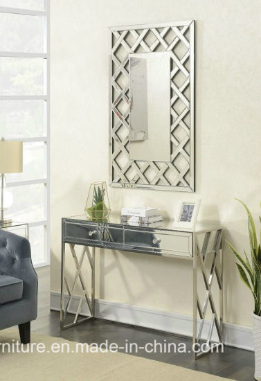 Pacific Stainless Steel Mirror Furniture Console Table With Rectangle Wall