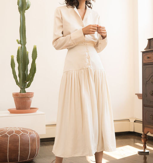 Chic High Waist Causal Beige MIDI Long Skirt Ivory Button