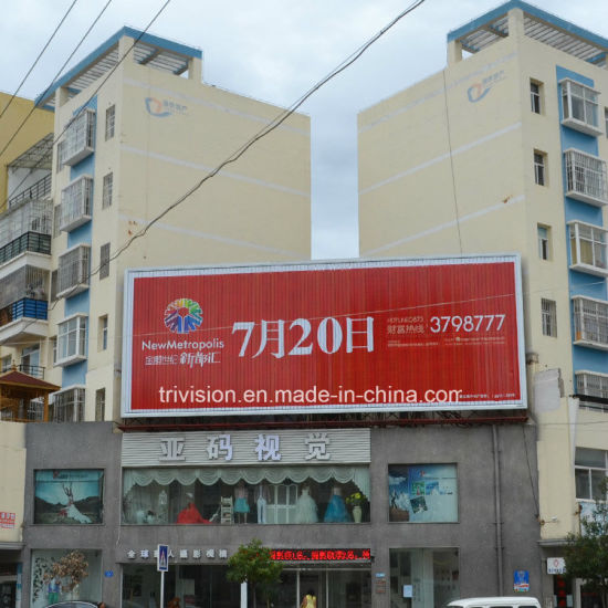 Outdoor Roof Top Curved Hoarding Advertising 3-Sides Billboard