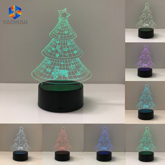 3D Night Light Christmas Tree Pattern Illusion LED Lamp Colorful Gift Lights Decoration Bulb Lighting pictures & photos