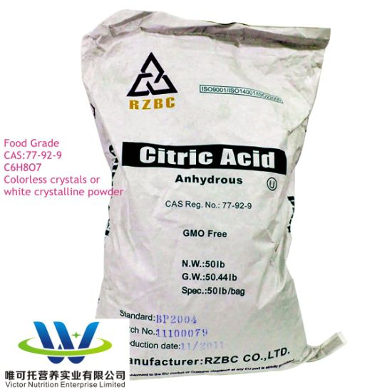 Caa High Purity Food Grade Citric Acid Anhydrous CAS: 77-92-9