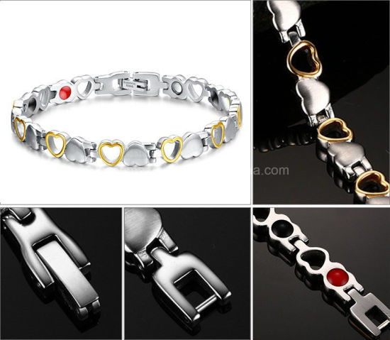 Silver With Golden Love Stainless Steel