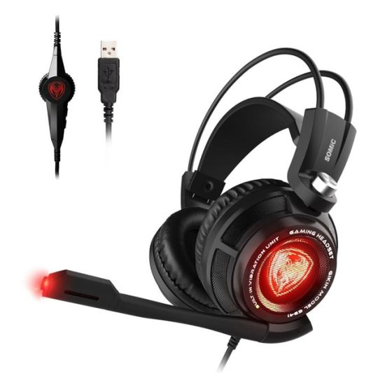 Somic G941 Virtual 7.1 Hot Sale Gaming Headset Strong Vibration Headband Headsets with Cool LED Light Headphones