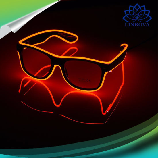 79228bd02d34 LED Light up EL Wire Glowing Dark Glasses Party Rave Flashing Sunglasses