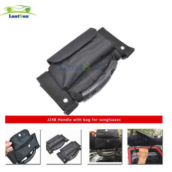 8425f8b796 J248 Lantsun Black Car Roll Bar Grab Handles with Storage Bag/ Pocket for Jeep  Jk