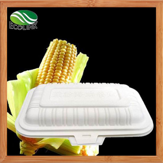 380ml 100% Disposable Biodegradable Lunch Box with Cornstarch Material pictures & photos