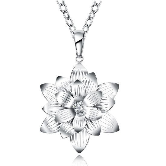 China foreign trade sales artistic lotus flower shape pendant zircon foreign trade sales artistic lotus flower shape pendant zircon necklace sterling silver plated jewelry mightylinksfo