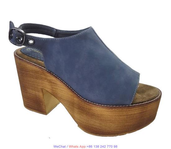 Women Comfy Platform Leather High Heel Wedge Flatform Sandals Shoes
