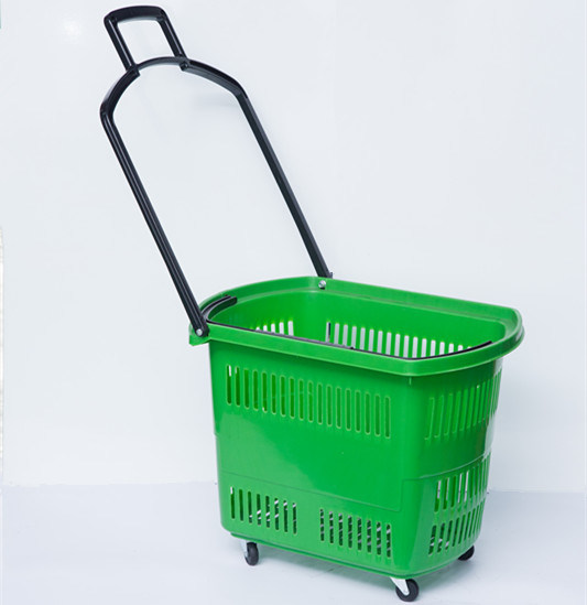 Supermarket Plastic Rolling Shopping Basket with 4 Wheels pictures & photos