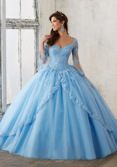 9ba05a704e2 Long Sleeves Quinceanera Dresses Lace Appliques Ball Gowns H1867 ...