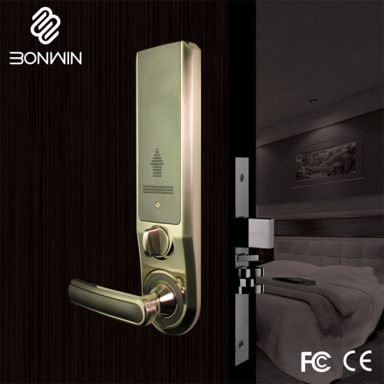 Bright Gold Electronic Digital Sliding Door Lock for Hotel pictures & photos