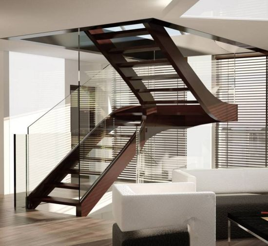 Bon Inetrior Customized Wood Folding Staircase System With Glass Railing