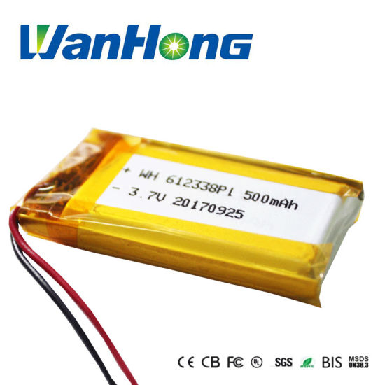 UL IEC62133 Rechargeable 612338pl 3.7V 500mAh Lithium Ion Li-Polymer Battery Lipo Battery for Bluetooth/MP3/4/5