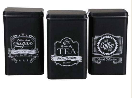 Rectangular Coffee Tea Sugar Kitchen Storage Caddies Tin Canister