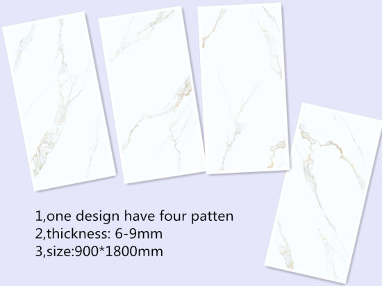 900 1800 9mm Thickness Carracator Marble White Stone Porcelain Floor Tile H918d005p