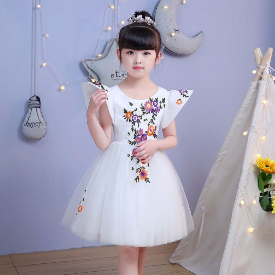 Embroidery Sleeve Ivory Flower Girl Dress