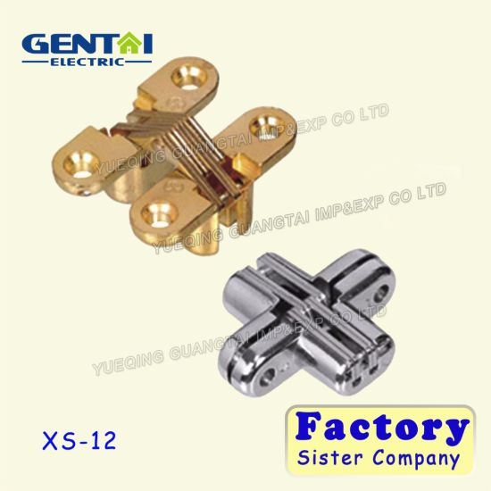 China Gold Cross Concealed Hinge for Cabinet and Furniture - China
