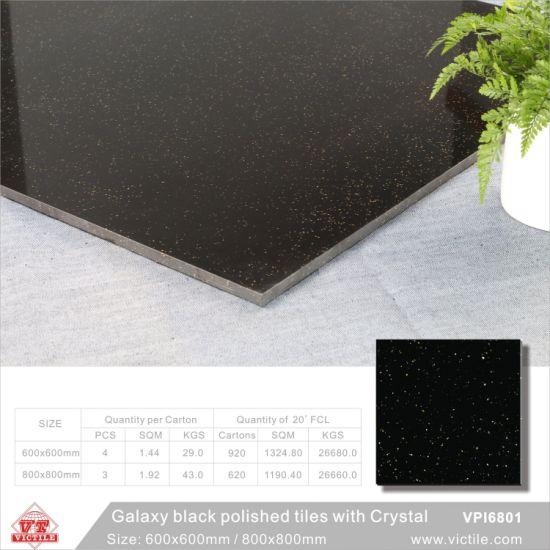 China Crystal Pure Dark Floor Tiles 600x600mm 24x24 Black
