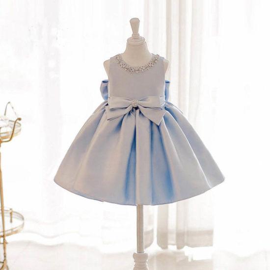 Blue Satin Beading Girl Dress