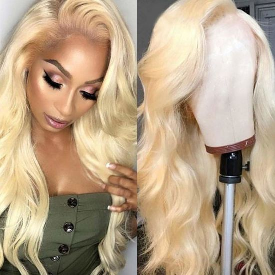 Wholesale 13X4 Body Wave Lace Front Wigs Brazilian Human Hair Wig 150% Density Pre Plucked with Baby Hair 613 Blonde