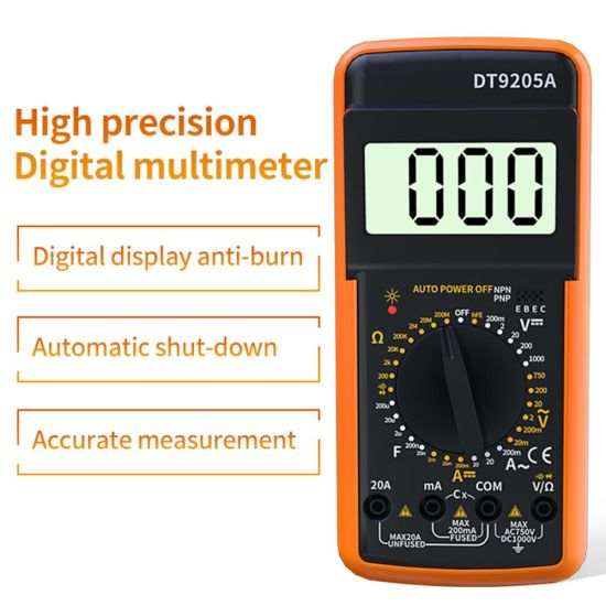 Resettable Full Protection LCD Display Hand-Held Multifunction AC DC Professional Electric Digitale Multimeter