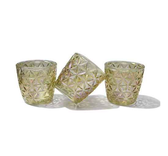 Gold Glass Candle Holders Glass Candlesticek Glass Votive Candle Cups Glass Candle Jars for Festival Decoration Glass Plant Vase