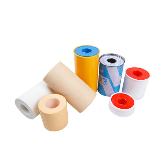 Medical Adhesive Zinc Oxide Tape Plaster Simple Packing/Plastic Cover/Tinplate Cotton Fabric White or Skin Color