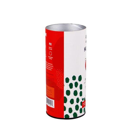 Custom Made Aluminum Foil Inside Tube Printed Outside Cylinder Boxes Packaging