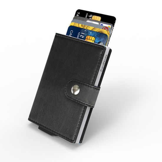 Wholesale High Quality Genuine Leather Metal Business Card Holder with Money Clips