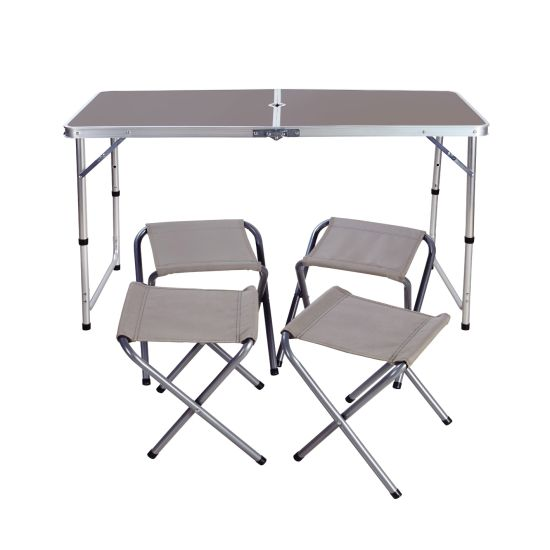 Outdoor Height Adjustable Folding Table with 4 Folding Chairs, Portable Camping Picnic Party Dining Table